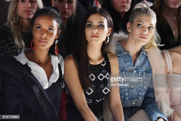 Maya Jama Victoria Justice and Devon Windsor attends the Jonathan Simkhai fashion show during New York Fashion Week The Shows at Gallery I at Spring...