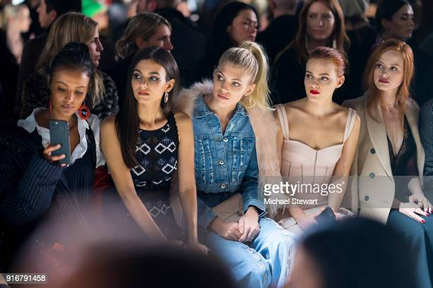Maya Jama Victoria Justice Devon Windsor Madeline Brewer and Madelaine Petsch attend the Jonathan Simkhai fashion show during New York Fashion Week...