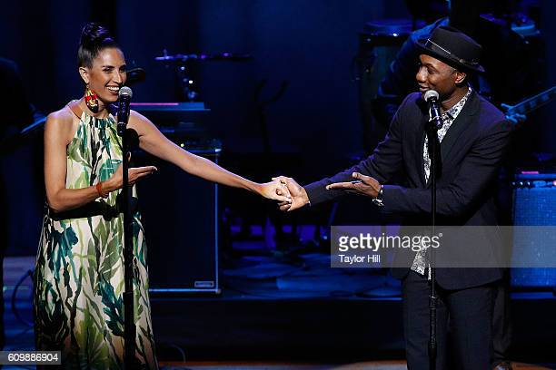Maya Jupiter and Aloe Blacc perform during the 2016 Global Citizen The World on Stage concert at Jack H Skirball Center for the Performing Arts on...
