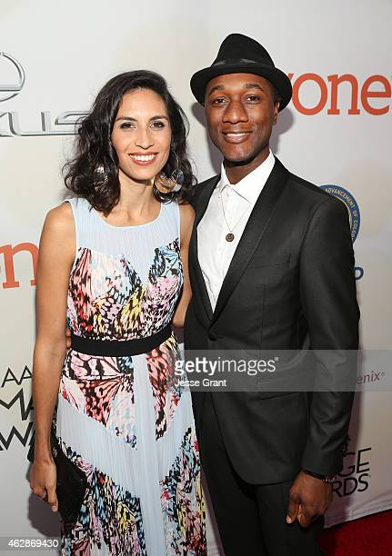Maya Jupiter and recording artist Aloe Blacc attend the 46th NAACP Image Awards presented by TV One at Pasadena Civic Auditorium on February 6 2015...