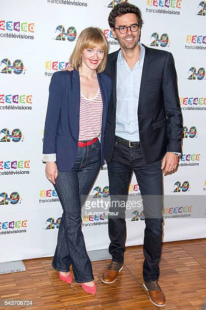 Maya Lauque and Thomas Isle attend the 'Rendez-vous du 29' Photocall at France Television on June 29, 2016 in Paris, France.
