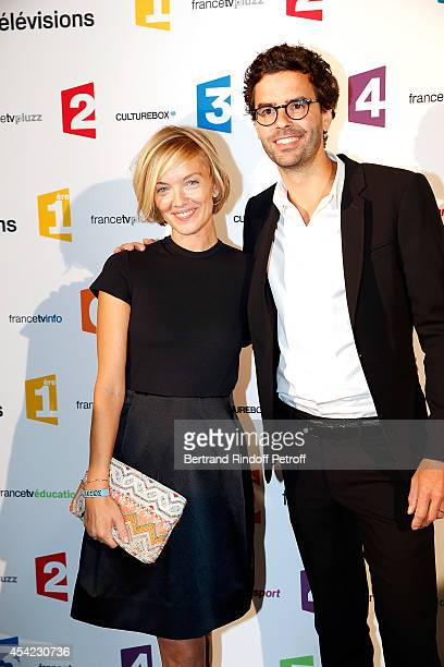 Maya Lauque and Thomas Isle attend the 'Rentree De France Televisions' at Palais De Tokyo on August 26, 2014 in Paris, France.