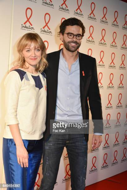 Maya Lauque and Thomas IsleÊattend the Sidaction 2017 Launch Party : Photocall at Musee Branly on March 07, 2017 in Paris, France.