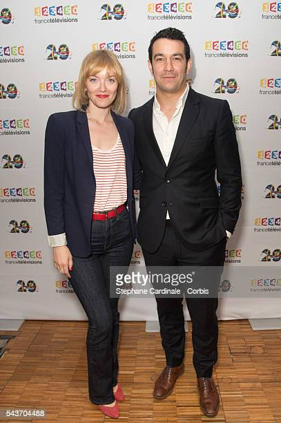 Maya Lauque and Thomas Thouroude attend the France Television 2016/2017 Photocall on June 29 2016 in Paris France
