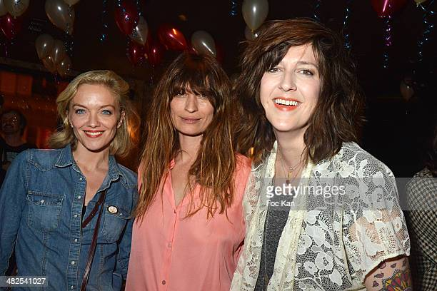 Maya Lauque, Caroline de Maigret and Daphne Burki attend the Matthieu Chedid In Concert at the Bus Palladium Anniversary Party on April 3, 2014 in...
