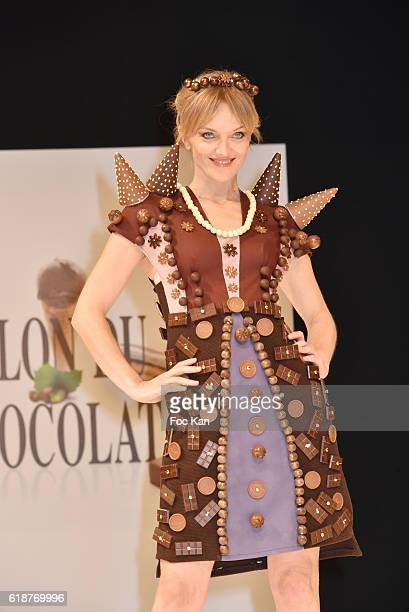 Maya Lauque dressed by Elise Chalmin and chocolated by Vincent Lechevallier walks the runway during the Chocolate fashion show as a part of the Salon...