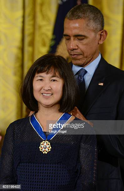 Maya Lin is presented with the 2016 Presidential Medal Of Freedom by President Obama at the White House on November 22 2016 in Washington DC