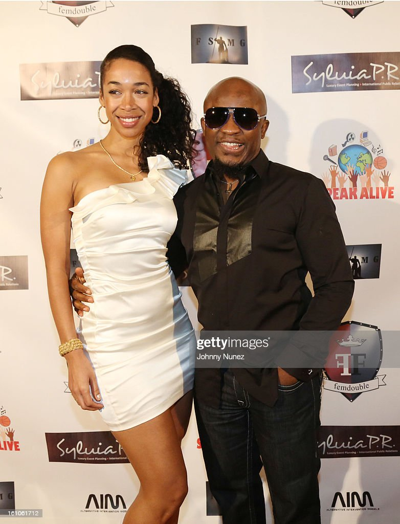Maya Louisa and Femi Ojetunde attend the Femdouble Producers Choice Honorees Gala at Bel Air Ship Mansion on February 8, 2013 in Belair, California.