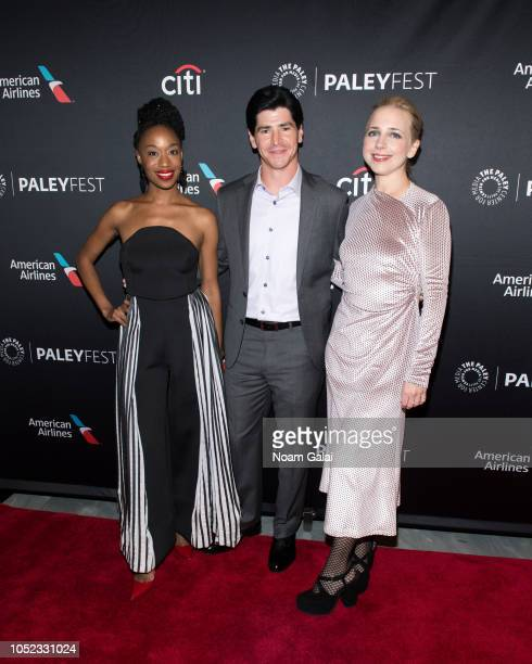 Maya Lynne Robinson Michael Fishman and Lecy Goranson attends The Conners premiere at the 2018 Paleyfest NY at The Paley Center for Media on October...
