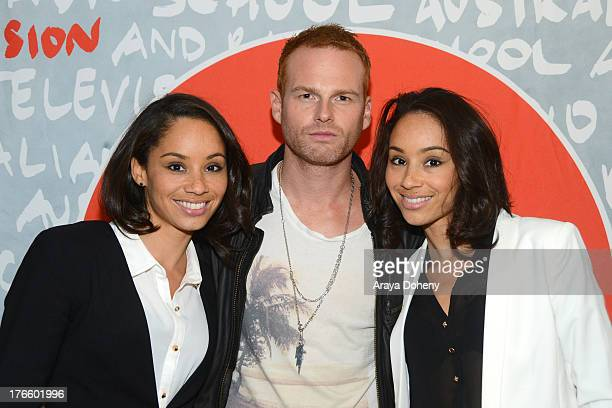 Maya McClean Martin Copping and Nandy McClean of Heroine December attend the Australians In Film screening of Battle Ground on August 15 2013 in Los...