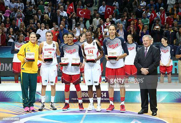 Maya Moore and Brittney Griner of the Women's Senior US National Team receive their medal for being on the alltournament team after defeating Spain...