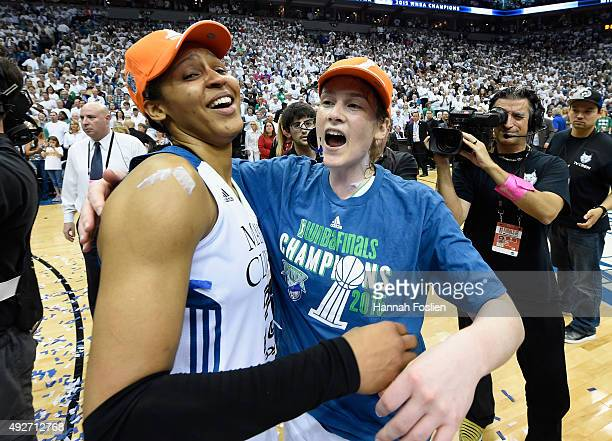 Maya Moore and Lindsay Whalen of the Minnesota Lynx celebrate a win in Game Five of the 2015 WNBA Finals against the Indiana Fever on October 14 2015...