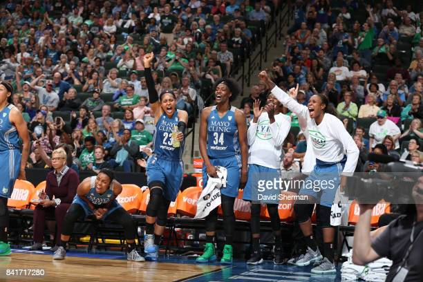 Maya Moore and Sylvia Fowles of the Minnesota Lynx react to a play during the game against the Chicago Sky on September 1 2017 at Xcel Energy Center...