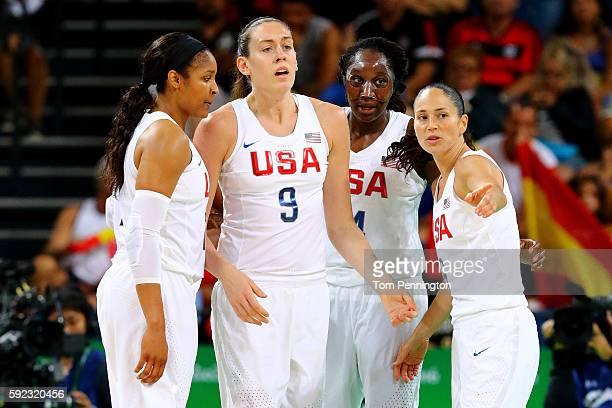 Maya Moore Breanna Stewart Tina Charles and Sue Bird of United States talk on the court during the Women's Gold Medal Game between United States and...