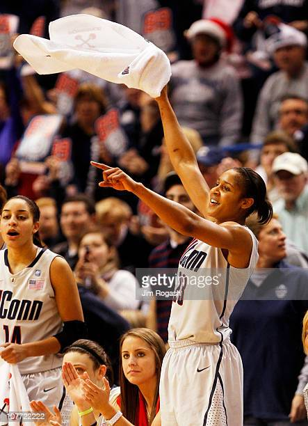 Maya Moore of the Connecticut celebrates in the final minutes of a win over Florida State on December 21 2010 in Hartford Connecticut Connecticut set...