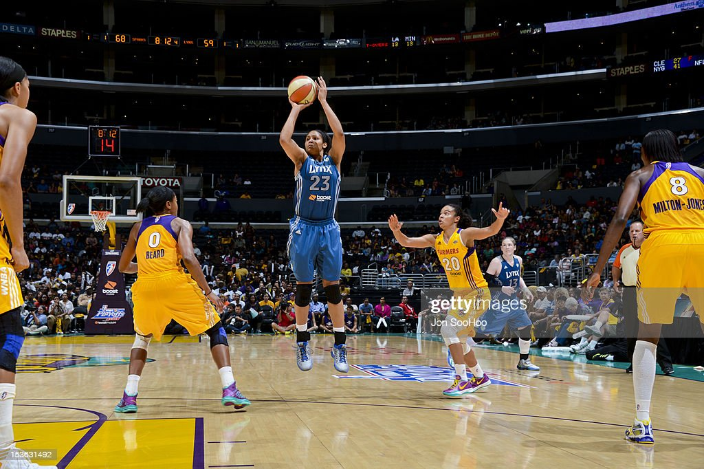 Maya Moore #23 of the Minnesota Lynx attempts a three-point shot against the Los Angeles Sparks during Game Two of the WNBA Western Conference Finals at Staples Center on October 7, 2012 in Los Angeles, California.
