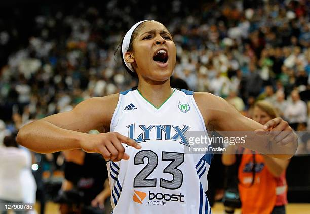Maya Moore of the Minnesota Lynx celebrates a win against the Atlanta Dream after Game One of the 2011 WNBA Finals on October 2, 2011 at Target...