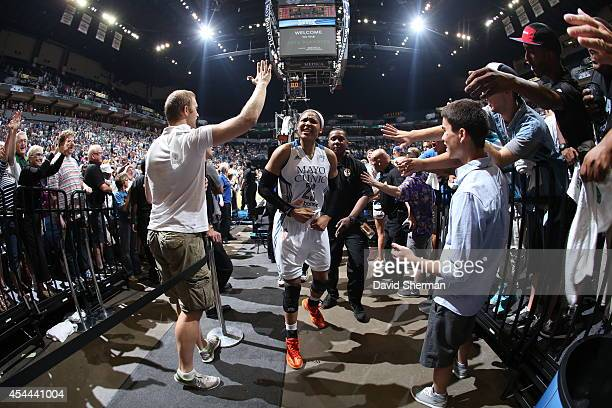 Maya Moore of the Minnesota Lynx celebrates the victory after the WNBA Western Conference Finals Game 2 on August 31 2014 at Target Center in...