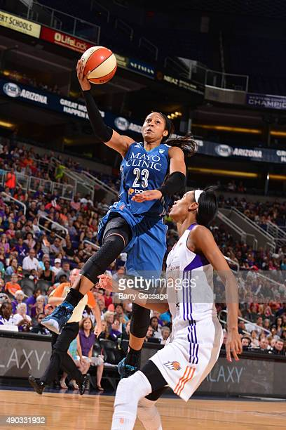 Maya Moore of the Minnesota Lynx drives to the basket against the Phoenix Mercury during the WNBA Playoffs Western Conference Finals Game 2 on...