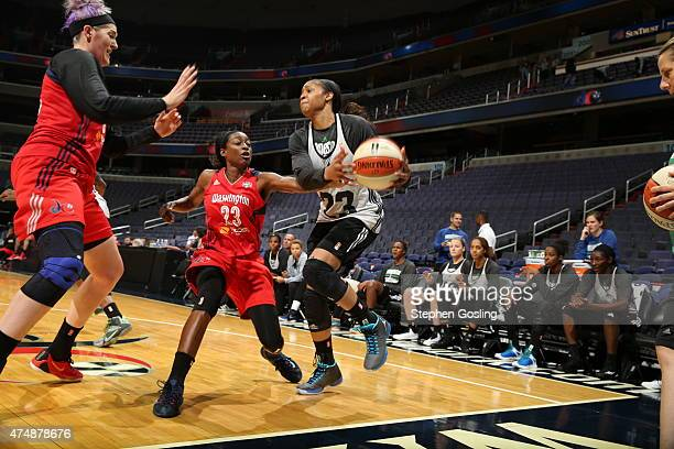 Maya Moore of the Minnesota Lynx handles the ball against the Washington Mystics during an Analytic Scrimmage at the Verizon Center on May 26 2015 in...