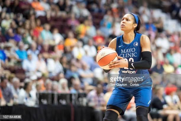 Maya Moore of the Minnesota Lynx in action during the Connecticut Sun Vs Minnesota Lynx WNBA regular season game at Mohegan Sun Arena on August 17...