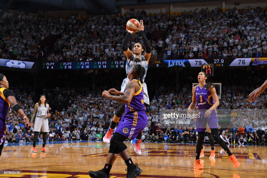 Maya Moore #23 of the Minnesota Lynx makes a key basket at the end of the game against the Los Angeles Sparks in Game 5 of the 2017 WNBA Finals on October 4, 2017 in Minneapolis, Minnesota.  NOTE