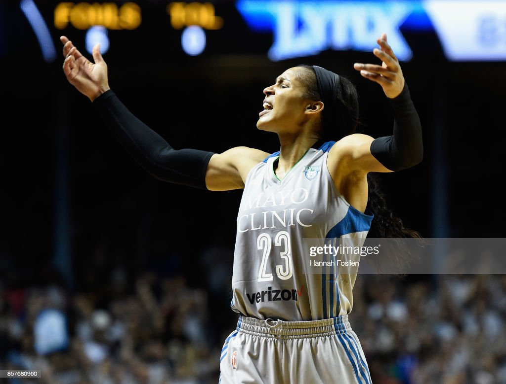 Maya Moore #23 of the Minnesota Lynx pumps up the crowd in the final minute of Game Five of the WNBA Finals against the Los Angeles Sparks on October 4, 2017 at Williams in Minneapolis, Minnesota. The Lynx defeated the Sparks 85-76 to win the championship.