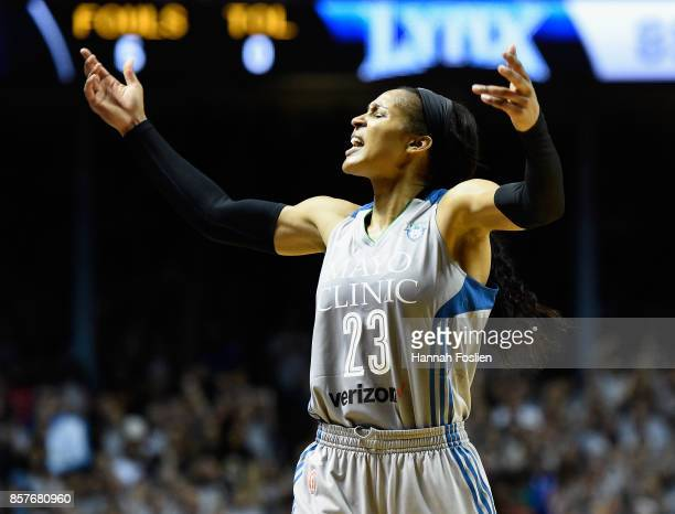 Maya Moore of the Minnesota Lynx pumps up the crowd in the final minute of Game Five of the WNBA Finals against the Los Angeles Sparks on October 4...