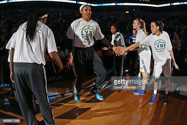 Maya Moore of the Minnesota Lynx runs out before Game One of the WNBA Western Conference Finals against the Phoenix Mercury on September 24 2015 at...