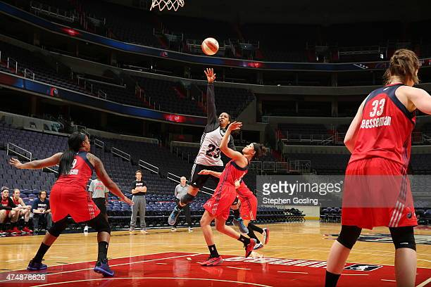 Maya Moore of the Minnesota Lynx shoots against the Washington Mystics during an Analytic Scrimmage at the Verizon Center on May 26 2015 in...
