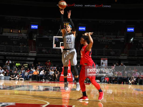 Maya Moore of the Minnesota Lynx shoots the ball against the Washington Mystics on May 27 2018 at the Capital One Arena in Washington DC NOTE TO USER...