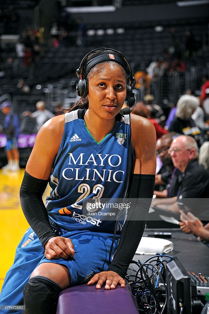 Maya Moore #23 of the Minnesota Lynx speaks to the media after a game the Los Angeles Sparks on June 16, 2015 at Staples Center in Los Angeles, California.