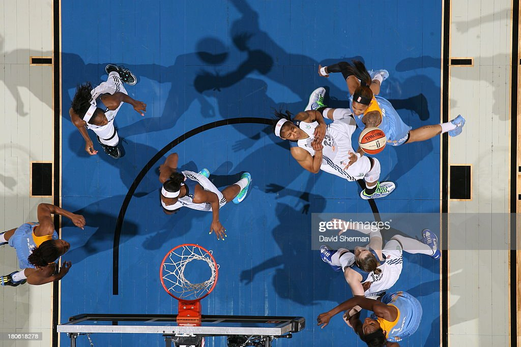 Maya Moore #23 of the Minnesota Lynx takes a charge from the Chicago Sky during the WNBA game on September 14, 2013 at Target Center in Minneapolis, Minnesota.