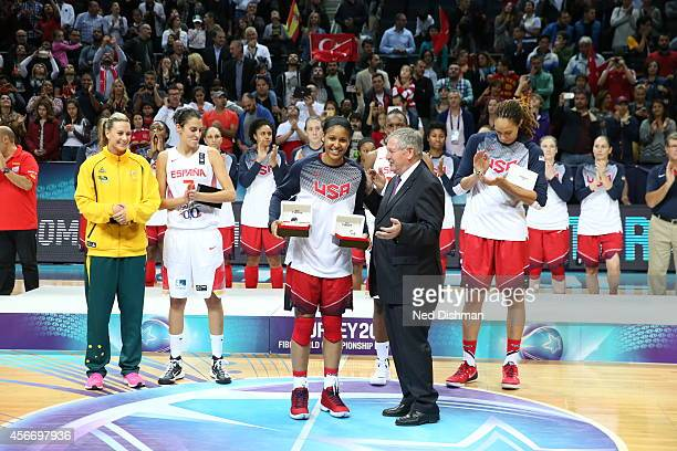Maya Moore of the Women's Senior US National Team receives her MVP medals after defeating Spain during the finals of the 2014 FIBA World...