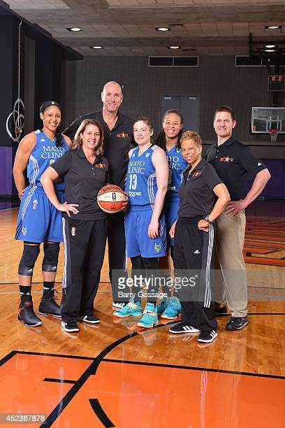 Maya Moore Seimone Augustus and Lindsay Whalen Cheryl Reeve of the Minnesota Lynx poses for a portrait prior to the 2014 Boost Mobile WNBA AllStar...
