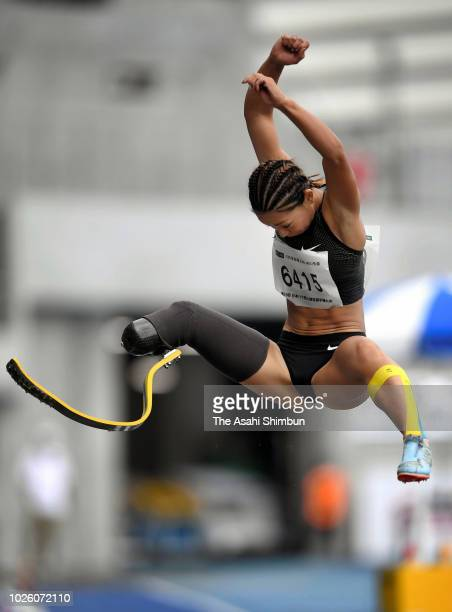 Maya Nakanishi competes in the Women's Long Jump T63/T64 during day one of the Japan Para Athletics Championships at the Yashima Rexxam Field on...