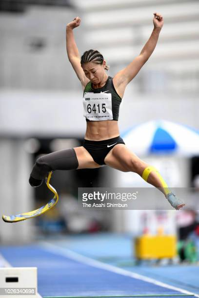Maya Nakanishi competes in the Women's Long Jump T64 during day one of the Japan Para Athletics Championships at the Yashima Rexxam Field on...