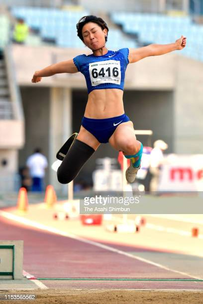 Maya Nakanishi competes in the Women's Long Jump T64 on day one of the 30th Japan Para Athletics Championships at Yanmar Stadium Nagai on June 1,...