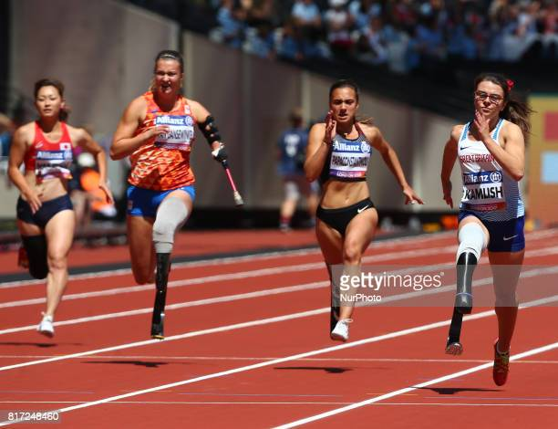 Maya Nakanishi , mARLENE VAN Gansewinkel , Marissa Papaconstant , Sophie Kamlish compete in Women's 100m T44 Heat 1 and World Record during IPC World...