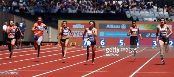 LR Maya Nakanishi mARLENE VAN Gansewinkel Marissa Papaconstant Sophie Kamlish Abassia Rahmani and Imgard Bensusan compete in Women's 100m T44 Heat 1...