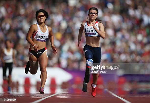 Maya Nakanishi of Japan and Sophie Kamlish of Great Britain compete in the Women's 200m — T44 heats on day 7 of the London 2012 Paralympic Games at...