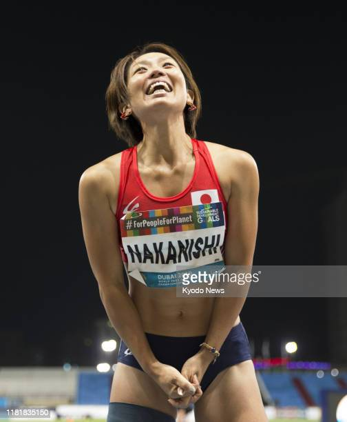 Maya Nakanishi of Japan celebrates after leaping 5.37 meters during the women's T64 long jump event at the World Para Athletics Championships in...