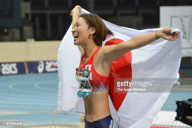 Maya Nakanishi of Japan celebrates winning the gold medal in the Women's Long Jump T64 Final on day five of the World Para Athletics Championships at...