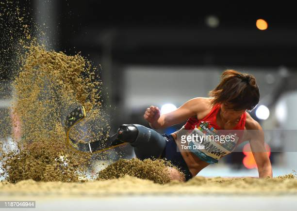 Maya Nakanishi of Japan competes during the Women's Long Jump T64 Final on Day Five of the IPC World Para Athletics Championships 2019 Dubai on...