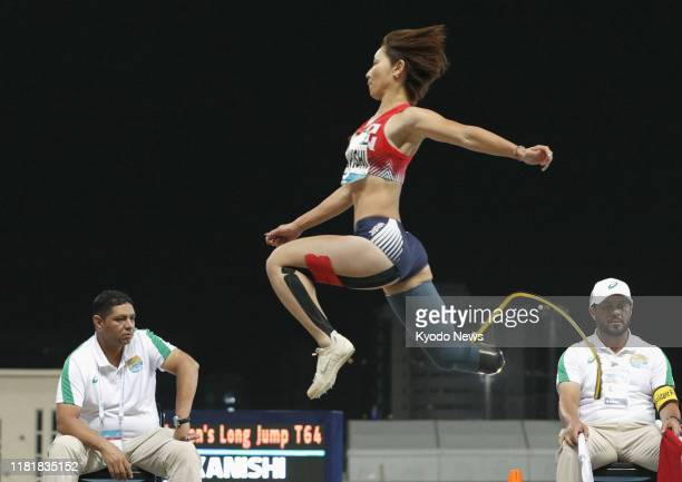 Maya Nakanishi of Japan competes en route to winning the women's T64 long jump at the World Para Athletics Championships in Dubai on Nov. 11, 2019.