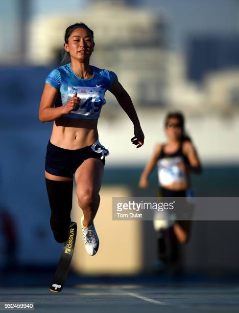 Maya Nakanishi of Japan competes in 100 meters women race during the 10th Fazza International IPC Athletics Grand Prix Competition - World Para...