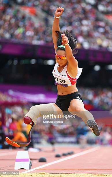 Maya Nakanishi of Japan competes in the Women's Long Jump - F42/44 Final on day 4 of the London 2012 Paralympic Games at Olympic Stadium on September...