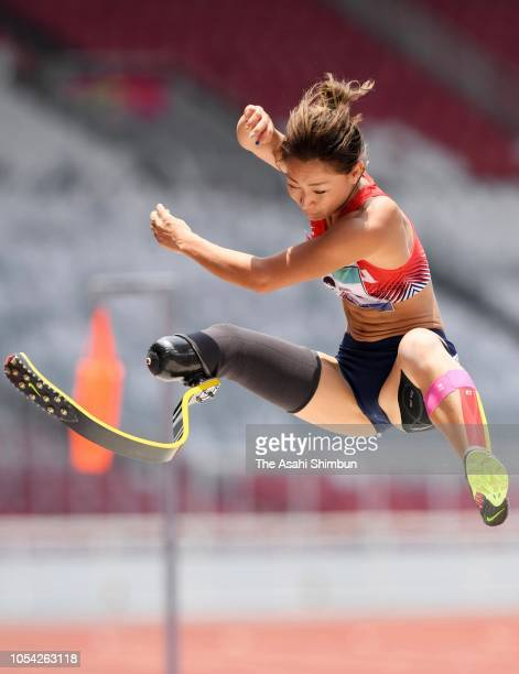 Maya Nakanishi of Japan competes in the Women's Long Jump T42-44/61-64 at the GBK Main Stadium on day three of the Asian Para Games on October 9,...