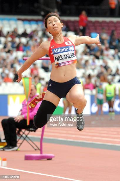 Maya Nakanishi of Japan competes in the Women's Long Jump T44 during Day Two of the IPC World ParaAthletics Championships 2017 at London Stadium at...