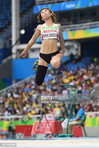 Maya Nakanishi of Japan competes in the Women's Long Jump - T44 final during the Rio 2016 Paralympic Games at Olymic stadium on September 9, 2016 in...